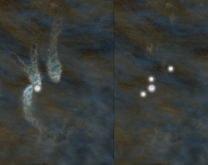 Artist's conception of the B5 complex as seen today, left, and as it will appear as a multiple-star system in about 40,000 years, right. Credit: Bill Saxton, NRAO/AUI/NSF
