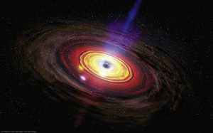 An artist's conception of a black hole generating a jet. Two million years ago the supermassive black hole at the center of our galaxy was 100 million times more powerful than it is today. Courtesy NASA/Dana Berry/SkyWorks Digital