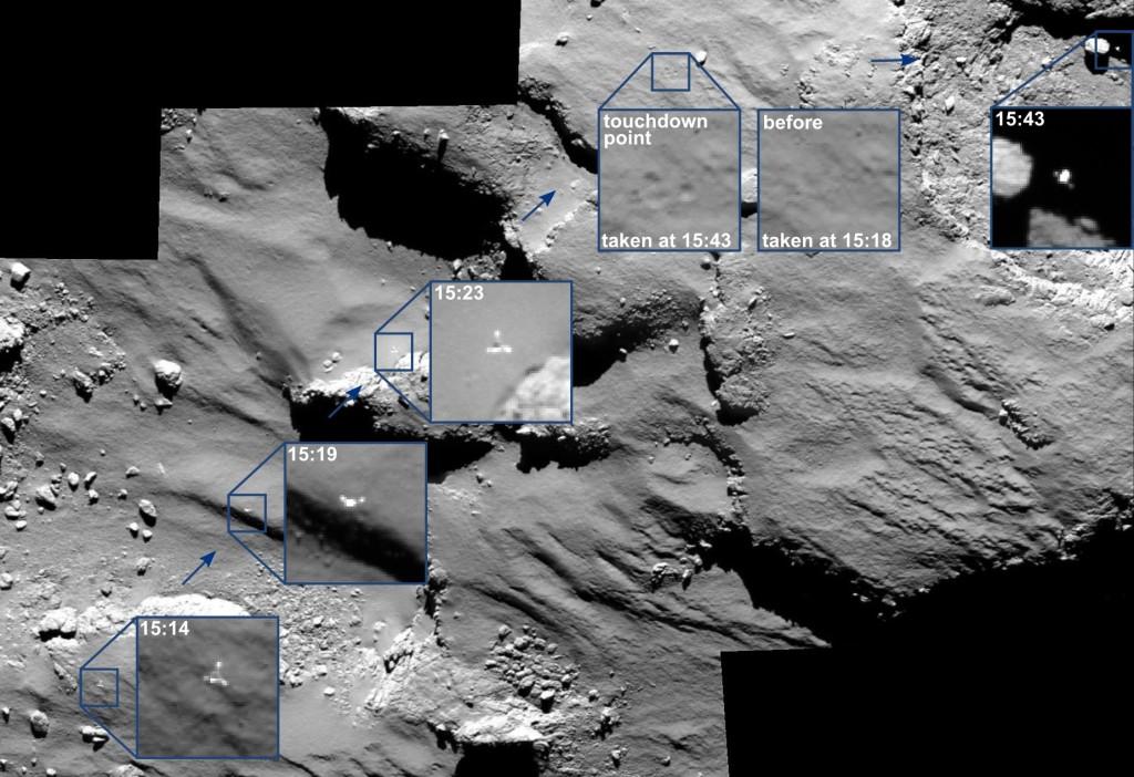 "OSIRIS spots the Philae lander ""skipping"" across the surface during its landing last week.  Courtesy: ESA/Rosetta/MPS for OSIRIS Team MPS/UPD/LAM/IAA/SSO/INTA/UPM/DASP/IDA"