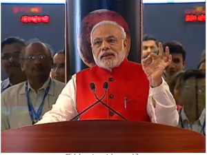The Prime Minister of India addresses the scientists of ISRO after the successful MOM orbital insertion.