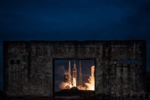 The Orion test launch on December 5, 2014. Called EFT-1 (for Exploration Test Flight 1). This image is used by permission of Tim Dodd of http://www.timdoddphotography.com/ and shows the launch framed through the remains of the Apollo mission test site.