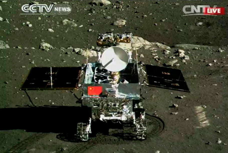 "The Chinese Chang'e-3 mission rover called ""Yutu"" (Jade Rabbit) as shown after the soft lunar landing. Courtesy Chinese National Space Agency and CCTV."