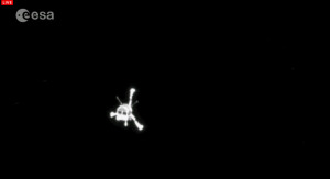 Philae as spotted by the OSIRIS camera after it left Rosetta.  Courtesy ESA/Rosetta mission.